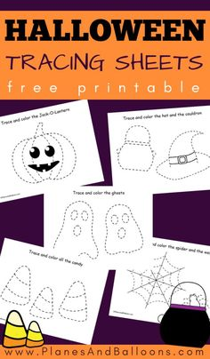 Halloween tracing sheets for preschoolers Free Halloween tracing worksheets for preschoolers. Perfect for fine motor skills, coloring and scissor skills. Halloween Theme Preschool, Fall Preschool Activities, Halloween Activities For Kids, Free Preschool, Preschool Lessons, Preschool Worksheets, Tracing Worksheets, Halloween Themes, Halloween Fun