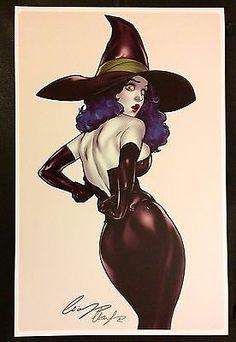 ELIAS CHATZOUDIS - SEXY WICKED WITCH ART PRINT SIGNED 11x17