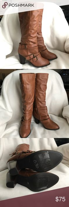 9a99d66826a Bamboo Knee Boots New Saddle color vegan leather knee high boots. Heel 3 3