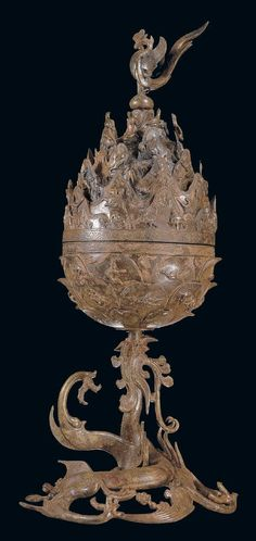 백제 금동대향로 구성 능산리 고분군 - insence burning, probably made of jade; Baekje Kingdom, Three Kingdom Period, Medieval Korea.