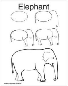 Figure Drawing Tutorial How to Draw an Elephant - Learn how to draw an elephant! Keep this reference in a binder in a science center. Students can use it when they are drawing and want to know how to draw animals. This is an Asian Elephant. Art Drawings For Kids, Doodle Drawings, Drawing For Kids, Cartoon Drawings, Easy Drawings, Animal Drawings, Pencil Drawings, Drawing Animals, Cartoon Elephant Drawing