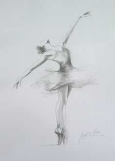 ORIGINAL pencil drawing 12 x 8 on WHITE paper of BALLERINA by Ewa Gawlik--strength for a little girls room