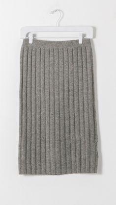 Designers Remix Isola Rib Knit Skirt in Grey | The Dreslyn