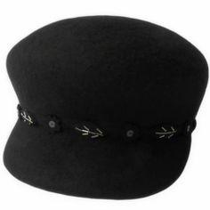 Designer Black Wool Winter Fashion Warm Dress Kangol Hats for Women SKU-158455
