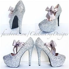 Silver Glitter High Heels Grey Gray Pumps Prom Heels Sparkly Wedding... ($70) ❤ liked on Polyvore featuring shoes, pumps, silver, women's shoes, glitter pumps, silver glitter shoes, silver shoes, silver high heel shoes and grey pumps