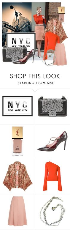 """Day in New York City"" by dmg555 ❤ liked on Polyvore featuring Marmont Hill, Chanel, Yves Saint Laurent, Kate Spade, Free People, Solace, Rochas and Gucci"