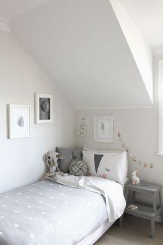 Stylish girls bedroom. #greyscale #interior