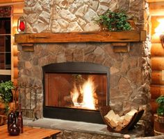 I want to update the fireplace, maybe this would work in our living room.  Rustic, but not too rustic.