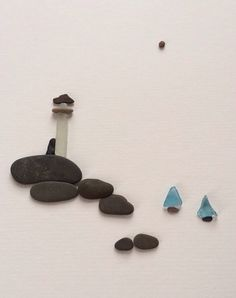 Sharon Nowlan original art, Pebble Art of NS, Lighthouse