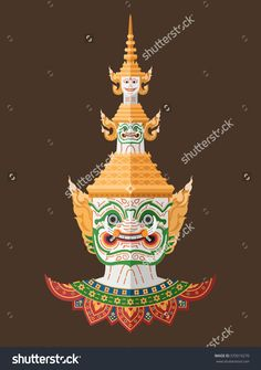 Thai Guardian Giant , Thai Art Stock Vector Illustration 370019270 : Shutterstock