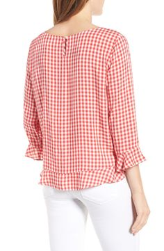 Main Image - Velvet by Graham & Spencer Ruffled Check Blouse Crop Blouse, Tunic Shirt, Tunic Tops, Graham Spencer, Gingham Check, Kurta Designs, Short Tops, Simple Outfits, Fashion Dresses