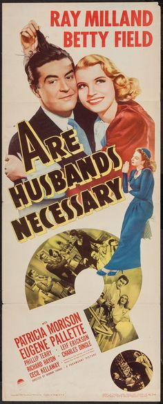 "Movie Posters:Comedy, Are Husbands Necessary? (Paramount, 1942). Insert (14"" X…"