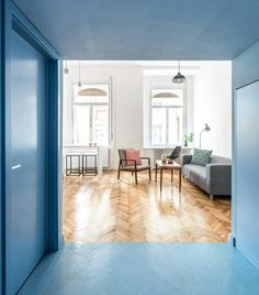 blue cube hallway