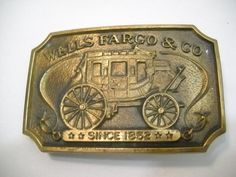 Vintage Wells Fargo & Co. Belt #Buckle 1973  Slight patina.  Measures approximately 3 1/2 x 2 1/4.  http://www.etsy.com/shop/seapillowtreasures  www.facebook.com/seapillowtr... #buckle #usa #vforvintage #crazyadsteam
