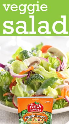 This delicious, crunchy salad with carrots, onions, broccoli, sugar snap peas, and tomatoes tastes like it came straight from the farmer's market.