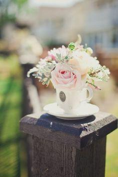 Elegant Garden Vintage Champagne Pink White Centerpiece Wedding Flowers - minimize flower use by using teacups!