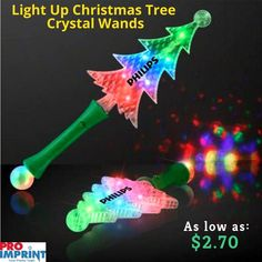Christmas is just a few weeks away, spread the spirit of Christmas with Christmas Tree Crystal Wands. They have a dimension of x and have a crystal ball at the bottom which project light to create an exciting brand impression. Unique Christmas Gifts, Christmas Tree, Crystal Ball, Wands, Light Up, Spirit, Crystals, Create, Party