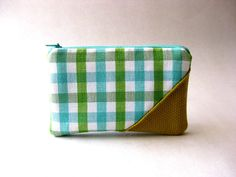 SALE - Prices already reduced - Zipper pouch, purse - The Picnic Coin Purse in light blue, green and white plaid fabric via Etsy.