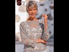 """Пуловер """"Цветочный"""". Часть 1/Pullover Crochet - YouTube"""