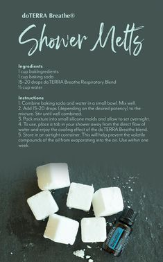 DIY Shower Melts Shower melts are a great alternative to bath bombs if you are in a hurry or prefer showers. It's the perfect way to add a little extra pampering in your day. Essential Oils For Breathing, Essential Oil Uses, Essential Oil Bath Bombs, Doterra Breathe, Shower Bombs, Diy Shower, Shower Soap, Doterra Essential Oils, Soap Recipes