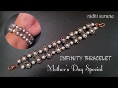 ⚜️ Infinity Bracelet, Mother's Day Special Beaded Jewelry Designs, Seed Bead Jewelry, Bead Jewellery, Beaded Bracelet Patterns, Beaded Bracelets, Mothers Day Special, Diy Jewelry Making, Making Bracelets, Bracelet Tutorial