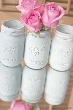One of my favorite DIY projects. Painted Mason Jars. Instant satisfaction.
