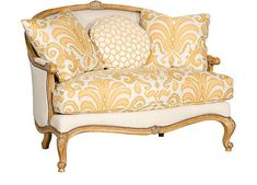 KIng Hickory ANDREW SETTEE W-290  OVERALL DIMENSIONS: H 41 W 53 D 36 SEATING DIMENSIONS: H 21 W 43 D 26  Seat Height: 21  Arm Height: 26 STANDARD FEATURES: Seat Cushions: Comfort Down  Throw Pillows: 2 P23, 1P18  Nail Head Trim: Natural  Standard Finish: Walnut Relic (Shown in Plantation Finish) FABRICS: Body: Crossroads Natural  Pillows: Katzberg Sunlight, Camary Sunlight
