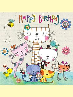 Happy birthday kitties, bugs, birds and flowers