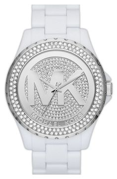 MICHAEL KORS NEW MK WHITE WITH SILVER