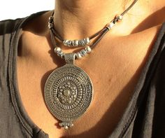 women tribal brown leather necklace with silver beads. $23.00, via Etsy.