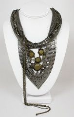 Bling Bandit Silver and Gold Bib Necklace-$21-Find hot fashion jewellery and statement jewlry at Strike Envy. #jewellery #jewlry