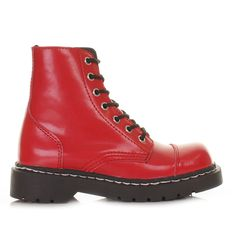 Anarchic Boots | ... SHOES RED ANARCHIC LEATHER 7-EYE LACE UP CHUNKY ANKLE BOOTS SIZE 3-8