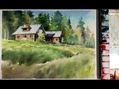 Watercolor Painting : Wooden house in the forest - YouTube