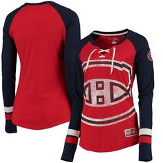 458e27dd15e NHL Montreal Canadiens Majestic Women s Vintage Hip Check Lacer Long Sleeve  T-Shirt - Red