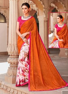 Strange Orange Casual Saree