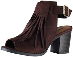 Soda Women's Oxford Fringe Tassel Peep Toe Buckle Slingback Bootie * This is an Amazon Affiliate link. Visit the image link more details.