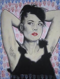 Kathleen Hanna painting  newer bigger version by CatTrapRecordLabel, $15.00