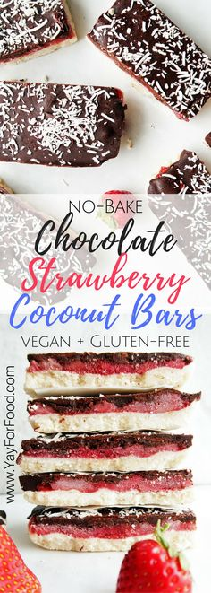 This delicious triple-layered chocolate strawberry coconut bar is no-bake, only uses 6 ingredients, and is ready in 30 minutes! Vegan   Gluten-Free   Vegetarian   Paleo   Dessert