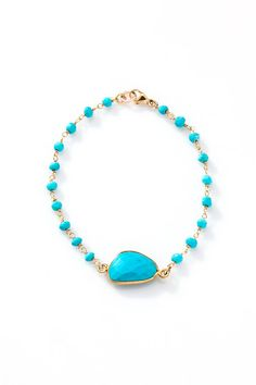 Bezel Turquoise Stone Bracelet with turquoise stone por joydravecky