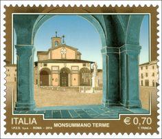 """Emissione di cinque francobolli ordinari appartenenti alla serie tematica """"il Patrimonio naturale e paesaggistico"""" dedicati al Turismo: Monsummano Terme (PT)"""