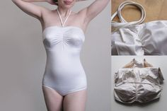 Vintage white striped swimsuit retro marylin monroe one by plot, $66.05