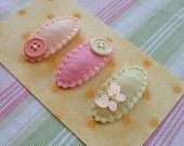 ALL ABOUT BUTTONS.Set of 3 Felt Hair Clips. Made in 100 Pecent Wool. Baby. Girls. Scalloped Hair Clips.