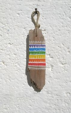 Gay Pride Hand Painted Driftwood Charm With Tribal by GeoJoyful