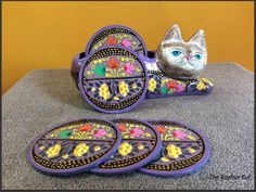 Colourful Papier Mache Coaster Sets available at The Koshur Kul.  100 per cent handmade