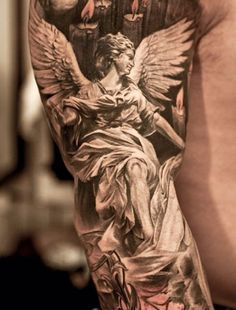 Burning Candles And Religious Angel Tattoos