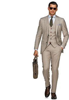 Light Brown Plain Lazio 3p Suit