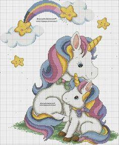 Unicorn Cross Stitch Pattern, Disney Cross Stitch Patterns, Cross Stitch Baby, Crochet Stitches Patterns, Counted Cross Stitch Patterns, Cross Stitch Designs, Cross Stitch Embroidery, Embroidery Patterns, Hello Kitty Wallpaper