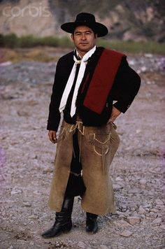 Gaucho wearing traditional clothing.  South American PAMPAS.