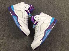 Nike Air Jordan 5 V White Purple Blue Women Basketball Shoes AAA Jordan V ae9d03983