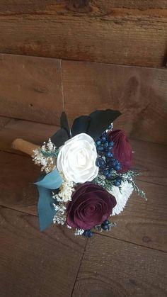 Custom Navy Burgundy Wedding Bridesmaids Bouquet Sola Flowers